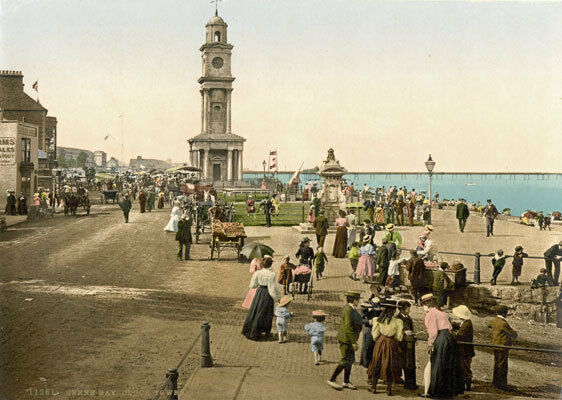 """PS1 Vintage 1890's Photochrom Photo - Clock Tower Herne Bay - Print A3 17""""x12"""""""