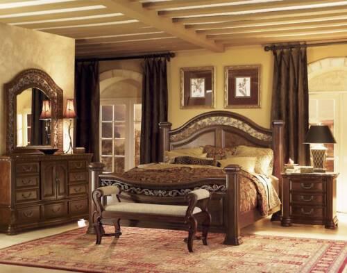 wynwood granada cherry king size wood mansion bed bedroom furniture 160493k - Wynwood Furniture