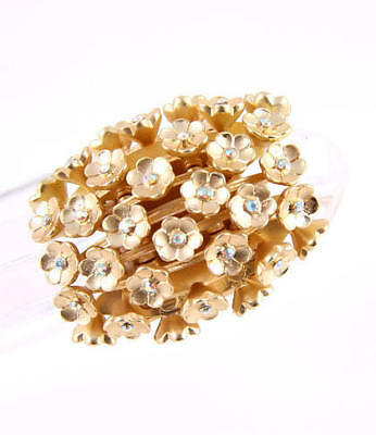 Matte Goldtone AB Crystal Accented Flower Stretch Ring