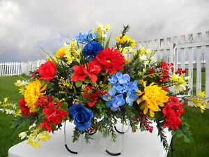 Thanksgiving-Colorful-Headstone-Fathers-Day-Mom-Son-Grave-Memorial-Silk-Flowers