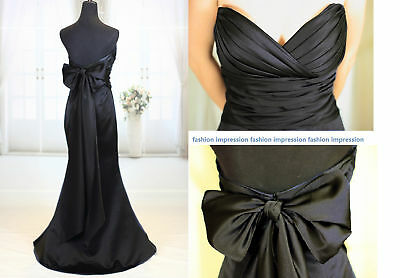 New Black Satin Bow Full Length Formal Evening Gown Bridesmaid Dress AU Sz 6