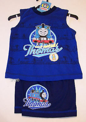 Thomas The Tank Boys Blue Print Pyjama Set Size 1 New