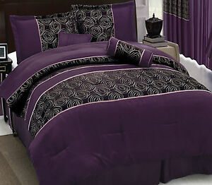 7-PC-Purple-abstract-Rose-King-Comforter-w-8PC-Curtain-Set-Purple-Temptation