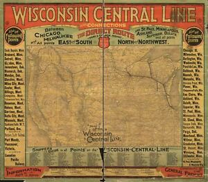 24x36-Vintage-Reproduction-Railroad-Train-Historic-Map-Wisconsin-1880