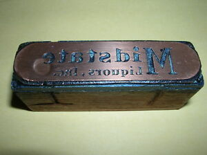 MIDSTATE Liquor Vintage Copper Printing Wood Block PRINTERS Stamp WOW
