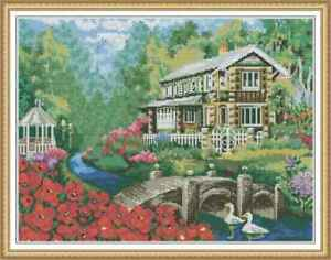 Counted-Cross-Stitch-Kit-Cottage-With-Beautiful-Creek