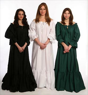 RENAISSANCE COSTUME PIRATE CELTIC WENCH CIVIL WAR PEASANT WHITE GOWN DRESS #Cd2