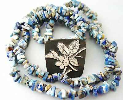 Vntg LAPIS Stone Bead NECKLACE Urban Fetishes Brooch