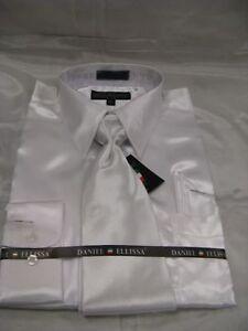 New-D-amp-E-Satin-Dress-Shirt-w-Tie-and-Hanky-White
