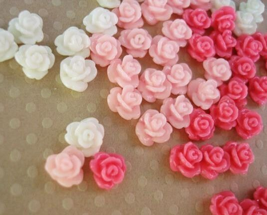 24 Mini Rose Pink+White Tone 4D Flower Resin Poly Clay/embellishment/Doll B166