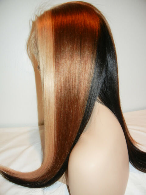 "CUSTOM! 18"" Spicey Trio Indian Remy Human Hair Full Lace Wig!"