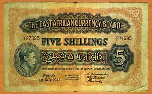East-Africa-5-shillings-1941-KGVI-P-28-28a-Y-9-Circulated
