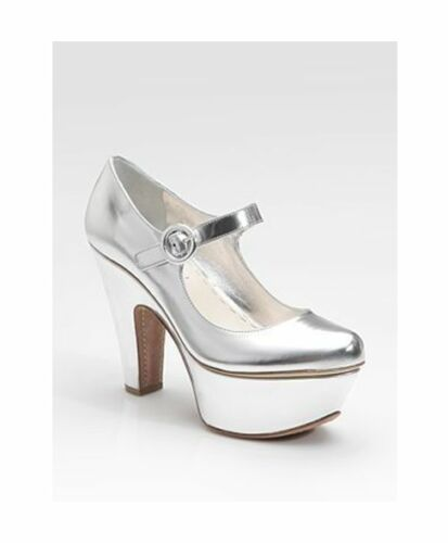 PRADA SILVER LEATHER PARTY CHIC PLATFORM MARY JANE COURT SHOES 5 7 38 RARE NEW