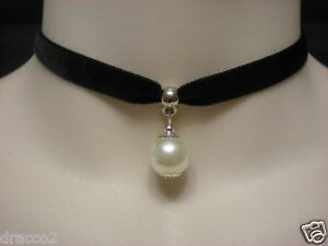 BLACK-VELVET-9mm-CHOKER-NECKLACE-IVORY-PEARL-BEAD-DROP