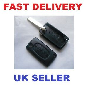 PEUGEOT-407-3-BUTTON-FLIP-KEY-FOB-REMOTE-CASE-WITH-BOOT-SIGN