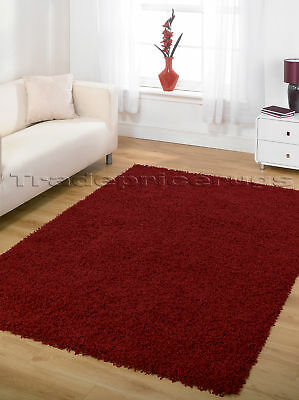 LARGE BRIGHT AND DARK RED, THICK MODERN SHAGGY RUG SALE