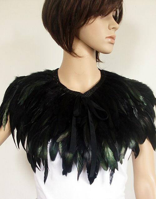 Stylish Hand Made Black Feather Cape Shawl Scarf Performance Dress Costume