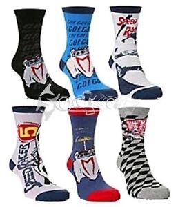 12 Pares Boys Speed Racer Auto calcetines Tamaños del zapato 6-5 Kids Designer