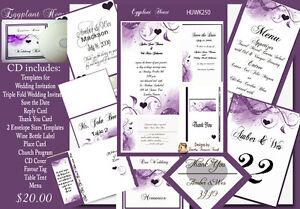 delux eggplant and purple classic wedding invitation kit on cd   ebay, Wedding invitations