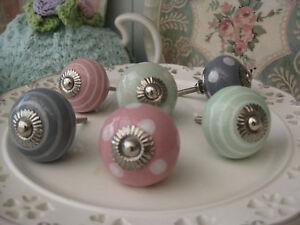 PINK-GREY-GREEN-polka-dot-stripe-spot-striped-ceramic-drawer-pulls-KNOB-knobs