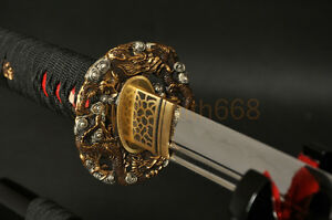 Japanese-Sword-Katana-Clay-Tempered-Blade-Dragon-Brass-Tsuba-Double-Blood-Groove