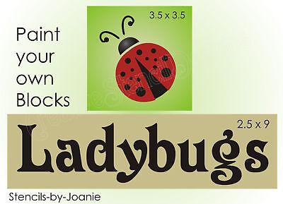Joanie 2 pc. Stencil Ladybug Love Summer Fly Away Garden Porch Cabin Block Signs