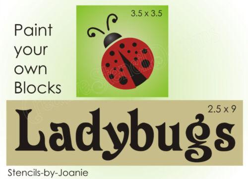 STENCIL Ladybug Love Summer Fly Away Garden Sign Blocks