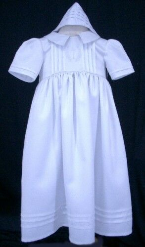 Baby Girl/Boy Christening Baptism White Robe Gowns & Bonnet Dress-Size 0000 to 0