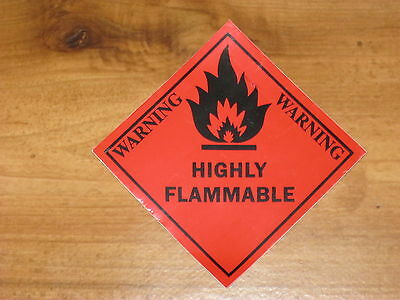 """HIGHLY FLAMMABLE"" STICKER (4 STICKERS) CAUTION, SAFETY,SECURITY,WARNING,OHS,DIY"