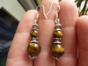 EARRINGS-TIGER-EYE-6-AND-10-MM-amp-ARGENT-925-LITHO-REIKI