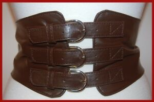 NEW-SEXY-3-BUCKLE-CORSET-LEATHER-CINCH-WIDE-BROWN-BELT