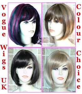 Ladies-Bob-Style-Short-Sleek-Straight-Fashion-Wig-Black-Brown-Blonde-Full-Wig