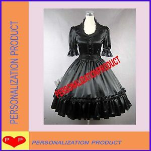 Vintage-Gothic-Lolita-Cute-Ball-Gown-Black-Satin-cosplay-Dress