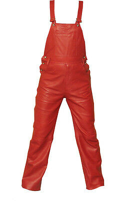 Men's Red Leather Bib Overalls New All Sizes