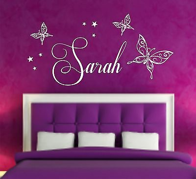 Your Name Personalised Wall Art Stickers Kids Stars, Butterfly, Girls Bedroom