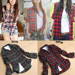 Women-Button-Down-Casual-Lapel-Shirt-Plaids-Checks-Flannel-Shirt-Top-Blouse-3820