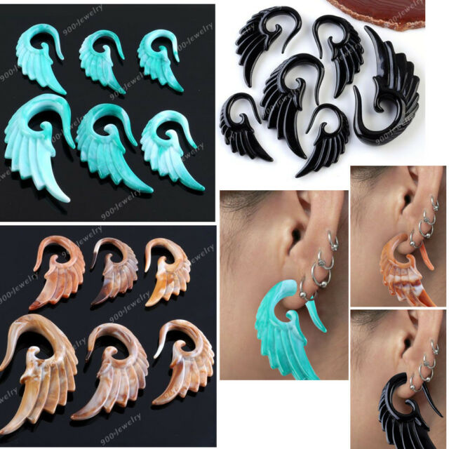 1x Punk 3-10MM Acrylic Angel Wing Spiral Taper Ear Plugs Expander Stretcher Ga