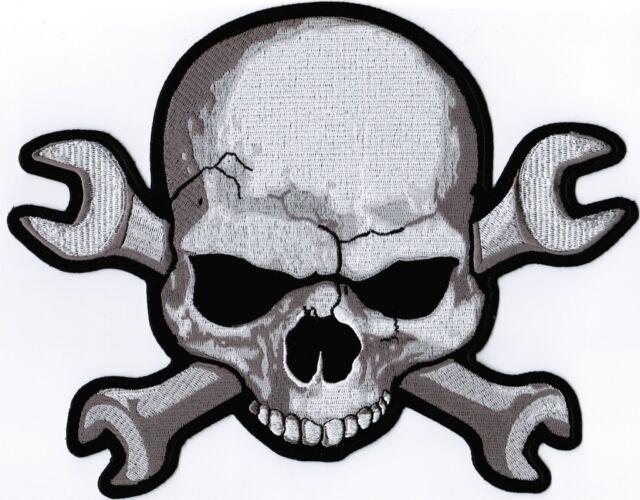 Skull Wrench Bones Large Back Motorcycle MC Club Biker Vest NEW Patch LRG-0050