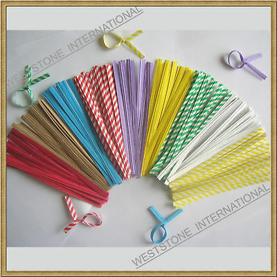"100 pcs 4"" Paper Twist Ties for Bakery Candy Cello Bags"