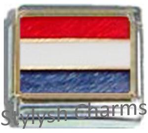 NETHERLANDS-HOLLAND-FLAG-Ceramic-Italian-Charm-9mm-1x-PQ035-Single-Bracelet-Link