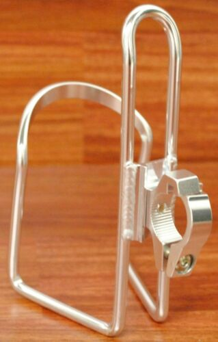 HANDLEBAR MOUNT BICYCLE BIKE CYCLING WATER BOTTLE CAGE//HOLDER W//BAR CLAMP,SILVER