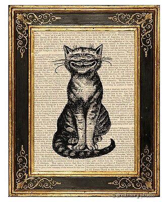 Big Smile Cat Art Print on Antique Book Page Vintage Illustration Kitty Grin