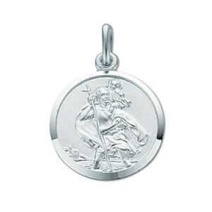 Solid-Silver-Round-St-Christopher-Pendant-amp-Chain-3-1g