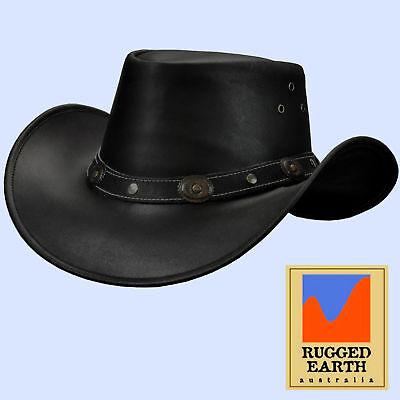Lederhut Australischer Stil Hut Western Leder Cowboy Regen Outdoor *053 schwarz