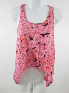TOPSHOP-Pink-Cropped-Rose-Pattern-Tank-Top-Shirt-Sz-2