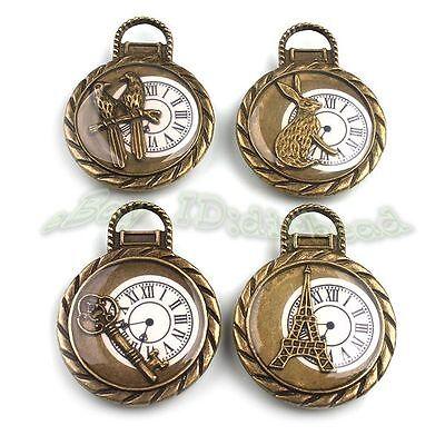 4x Wholesale Antique Bronze Clocks Charms Pendants Fit Necklace Bracelets 141421