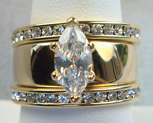 3 Ring Marquise Stunning Russian Cz Wedding