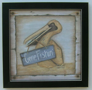 Pelicans Prints Nautical Art Framed Country Picture For