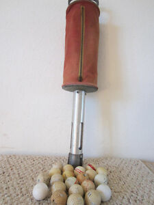 VINTAGE-CANVAS-AND-METAL-Ball-Shag-GOLF-BALL-RETRIEVER-CONTENTS-OF-22-BALLS
