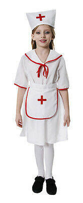 FANCY DRESS GIRLS NURSE OUTFIT - WHITE AND RED